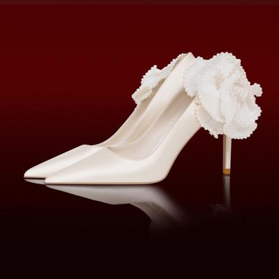 レディース サテン 花飾り ウェディングシューズ 白 パンプス ポイントトゥ ハイヒールシューズ