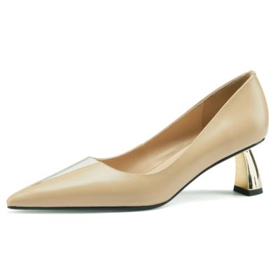 アンズ V カット ローヒール 通勤靴 レディス5.5CMパンプス