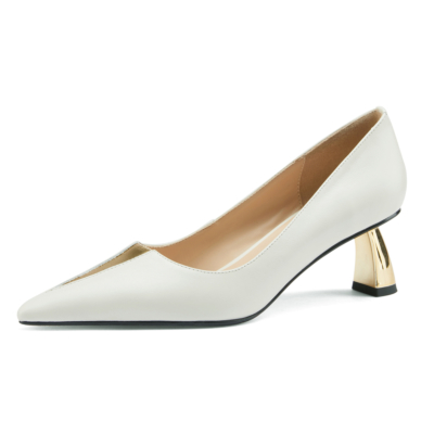 ホワイト V カット ローヒール 通勤靴 レディス5.5CMパンプス