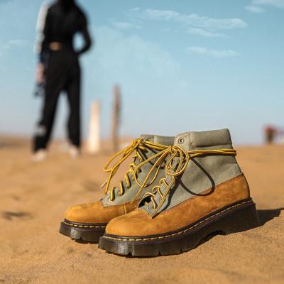 イエロー 登山靴 カップルシューズ スエード 旅行 レースアップ ブーツ 遠足 ハイキング