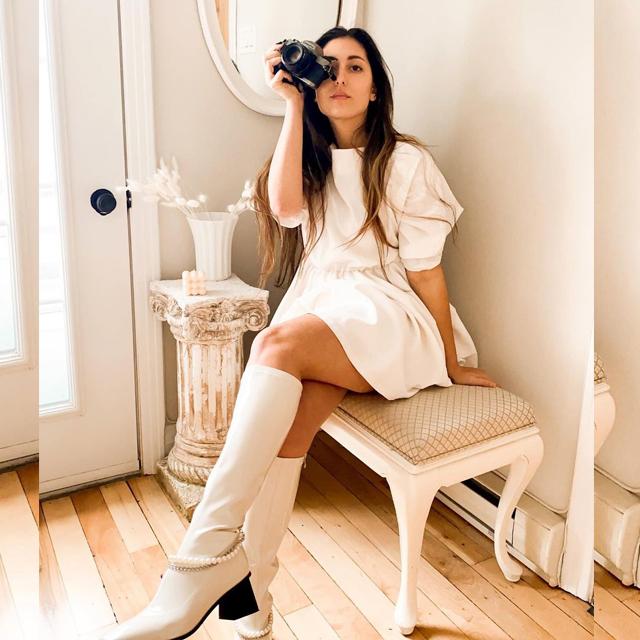 今日の白いコーデ @justineejeil 春にも、ドレス&ブーツ最高!
