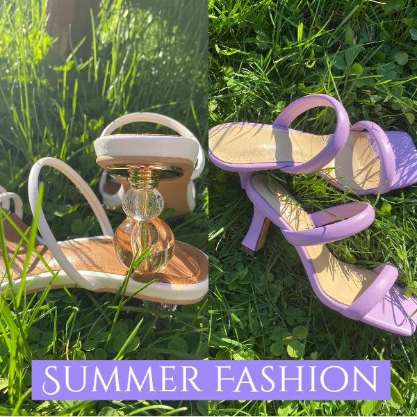 旬の夏にぴったり、フェミニン印象なライトパープルサンダル
